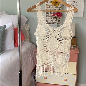 Floral cut-out tank top with fringe ends